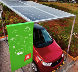 Solar parking for Mahindra e2o