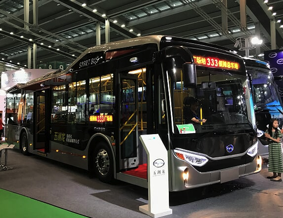 Electric bus getting charged