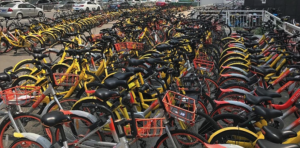 Sharing bicycles piled up in Shenzhen