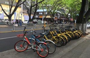 Sharing bicycles parked in Shenzhen