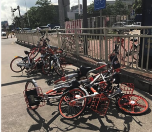 Sharing bicycles piled up on Streets of Shenzhen