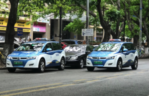 BYD electric taxis on Shenzhen roads