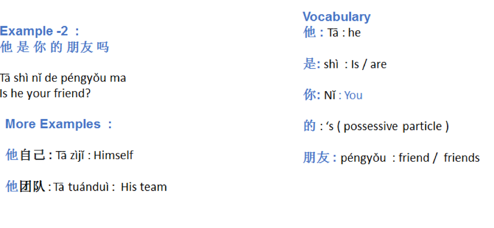 examples of 他– He
